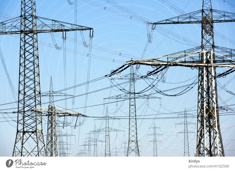 Power line, high voltage lines on high power pylons. Full-size power line Power lines Electricity current highway Power transmission power supply