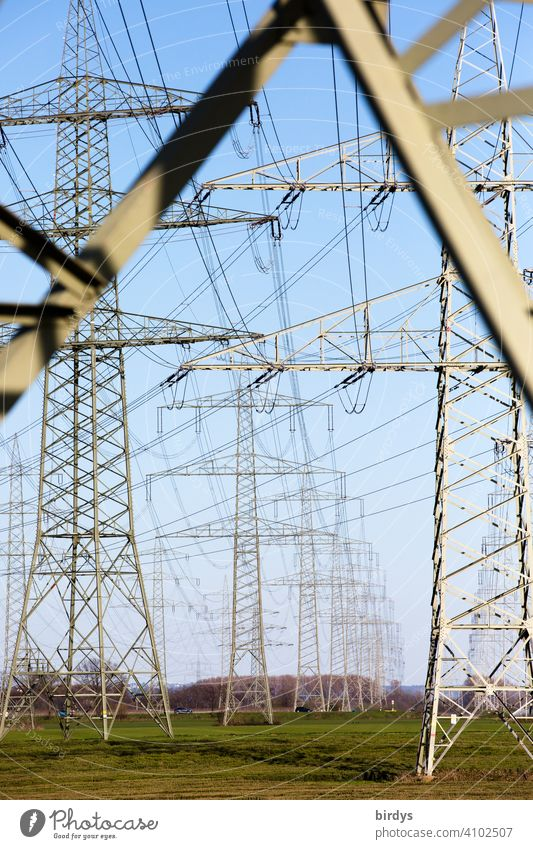 Power line, high voltage lines on high power pylons power line Power lines Electricity current highway Power transmission power supply transmission line