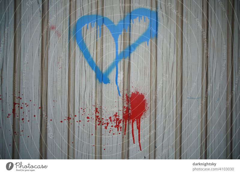 Blue heart as a symbol of love, graffiti on the gate of a garage. Heart Love Graffiti Emotions Characters Wall (building) Declaration of love Colour photo