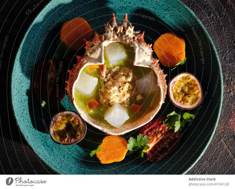 Plate of delicious ceviche in spider crab shell dish seafood restaurant meat fruit exotic plate exquisite marine tropical traditional authentic cooked prepared