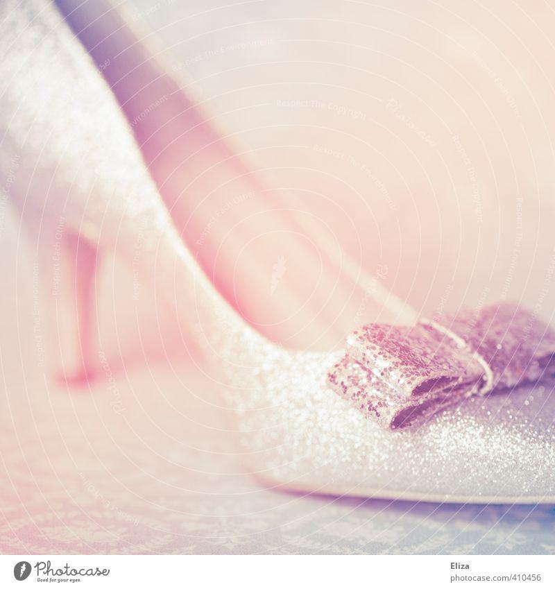 cinderella Fashion Footwear High heels Beautiful Pink Glittering Bow Girlish Romance Cinderella Dreamily Fetishism Elegant Chic Pastel tone Fairy tale Feminine