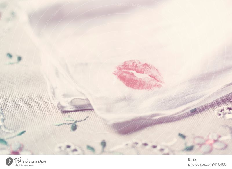 lip service Pout Kissing Handkerchief Love Lipstick Embroidery Imprint Love affair Betray Lovers Red Delicate White Smooth Memory Souvenir Desire Eroticism
