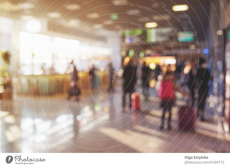 Blurred people with luggage in airport. blur background silhouette person modern travel interior transportation journey terminal crowd passenger departure