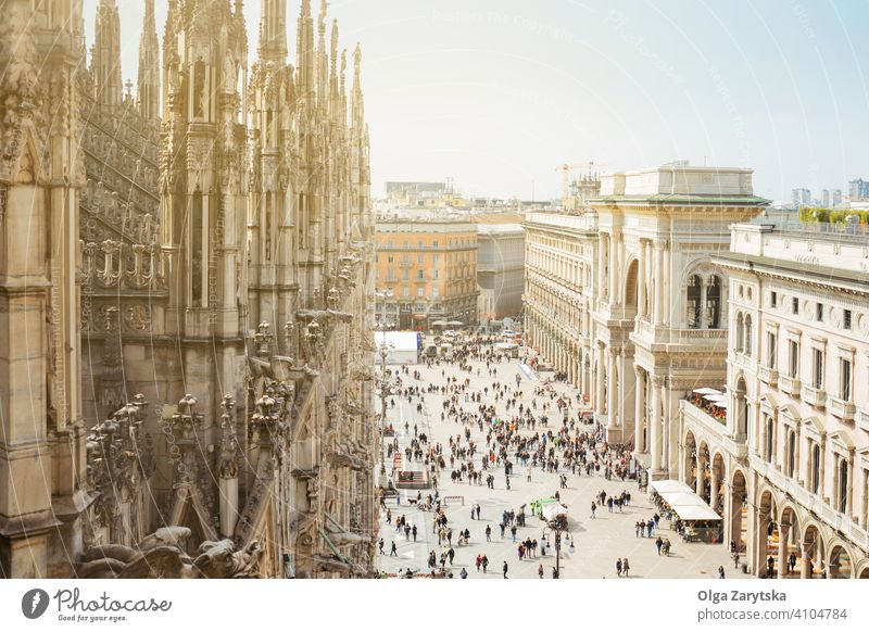 View from roof of Duomo on Milan. cathedral church city duomo milan italy architecture background building europe european gothic italian landmark milano