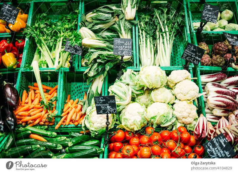 Fresh vegetables on the supermarket. background food fruit leaf fresh store carrot color green grocery healthy organic product raw red sell shop tomato diet