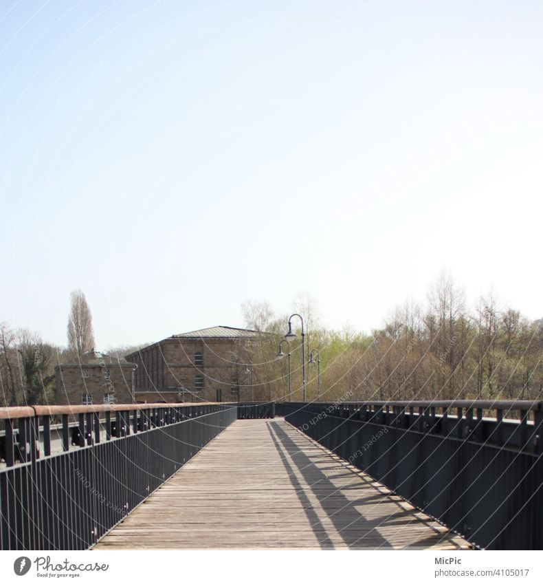 """""""On the wooden path"""" bridge wood historical with lanterns Bridge Bridge railing Wood Historic Buildings Exterior shot Colour photo Architecture Deserted Old"""