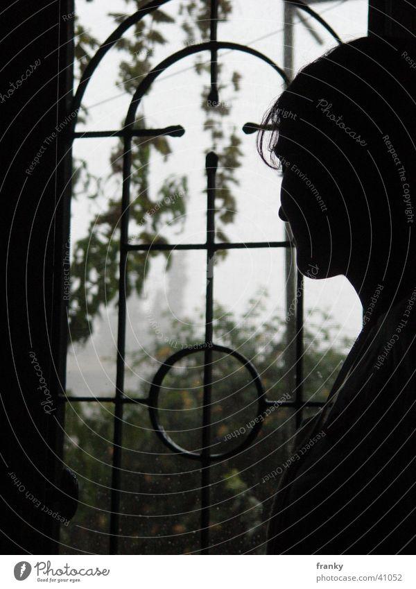 rain Silhouette Woman Shadow Rain Profile