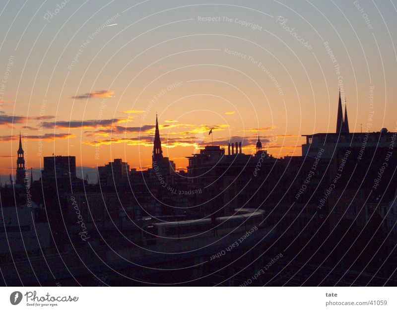 Sun City Hamburg Europe Sunset Romance Skyline Dusk