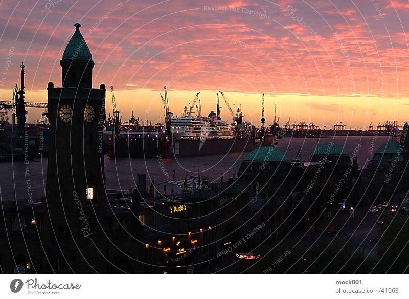 Hamburg Landing bridges Art Back-light Europe Germany. Hamburg Harbour Jetty Elbe Tourist Attraction Evening Sky Dusk