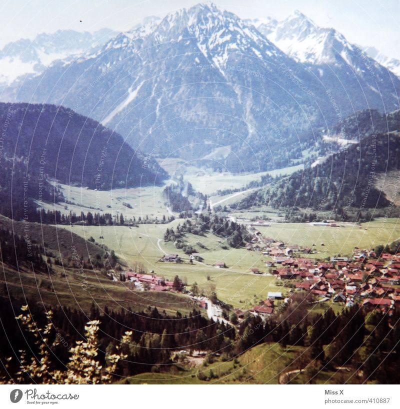 Vacation & Travel Far-off places Mountain Freedom Moody Tourism Hiking Trip Peak Alps Card Snowcapped peak Village Past Summer vacation Analog