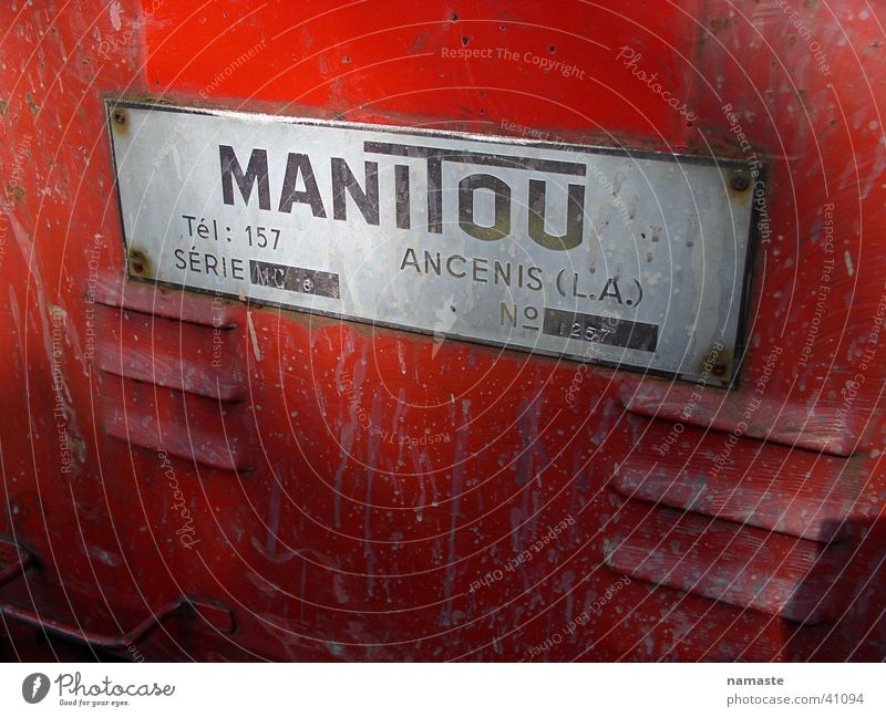 manitou Red Tractor Electrical equipment Technology Characters label Old