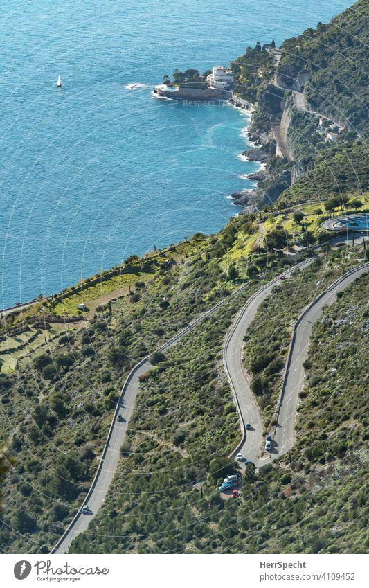"View from above on the ""Route de la Turbie"" - Near Monaco Cote d'Azur Mediterranean sea France Colour photo Vacation & Travel Summer Tourism Deserted coast"
