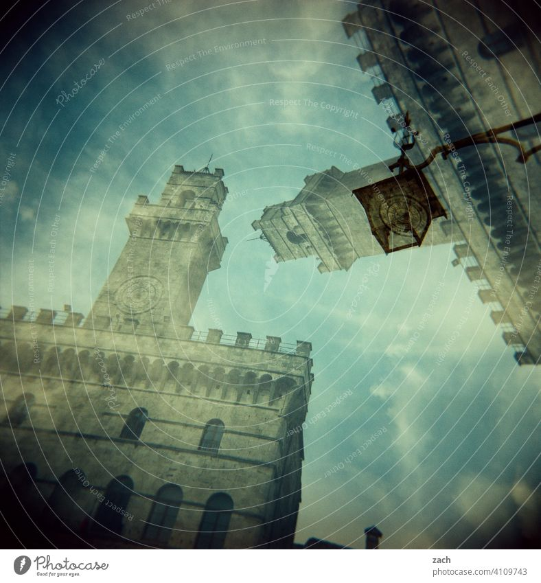 Reality is only a dream Clouds Sky Tower Old town Architecture Quarter Outskirts House (Residential Structure) Holga Facade Apartment Building Experimental