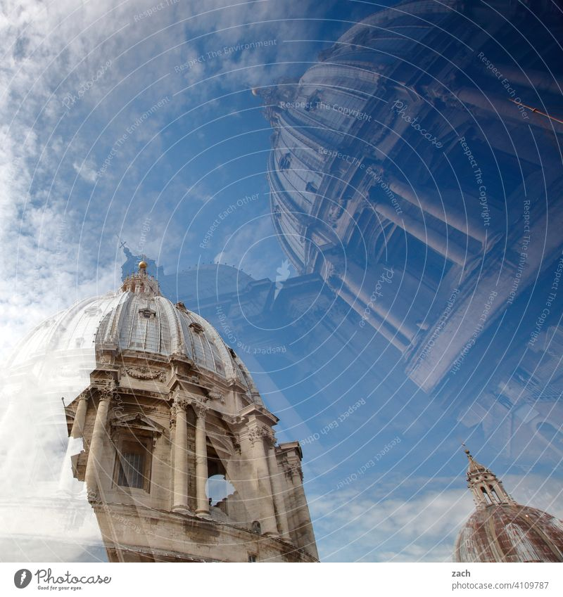Illusion | so close to heaven Rome St. Peter's Cathedral Domed roof dome Vatican Church Italy Religion and faith Tourist Attraction Historic Double exposure