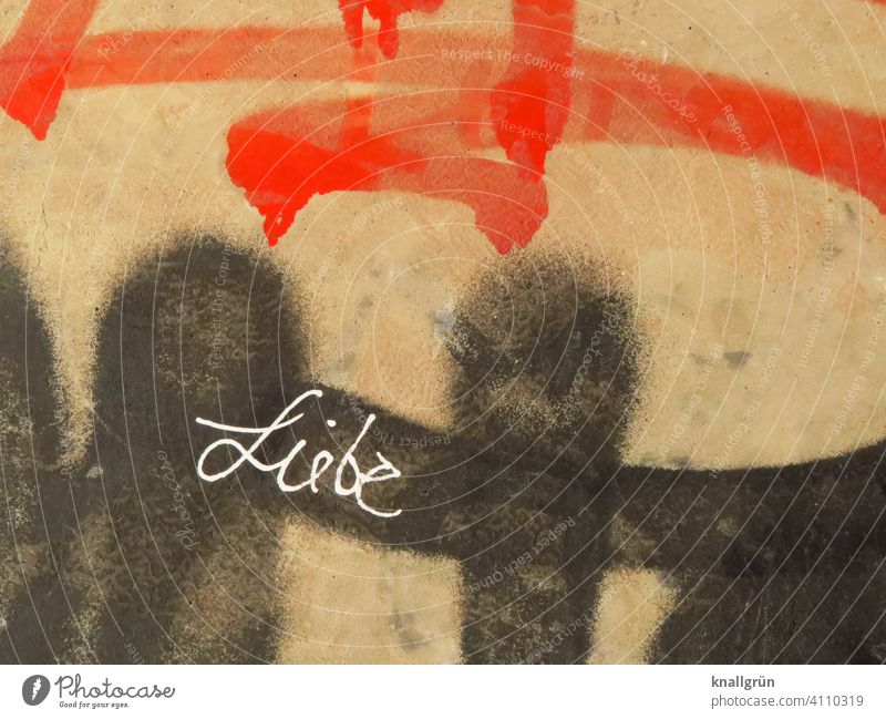 love Graffiti Love Art Characters Wall (building) Wall (barrier) Exterior shot Colour photo Deserted Day Emotions Town Letters (alphabet) Word leap letter