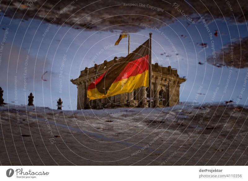 Reichstag in the reflection of a puddle IV Central perspective Reflection Shadow Copy Space top Twilight Artificial light Light Copy Space right Copy Space left