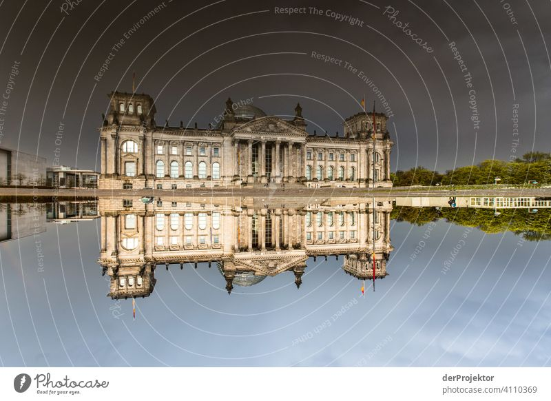Reichstag in the reflection of a puddle II Central perspective Reflection Shadow Copy Space top Twilight Artificial light Light Copy Space right Copy Space left