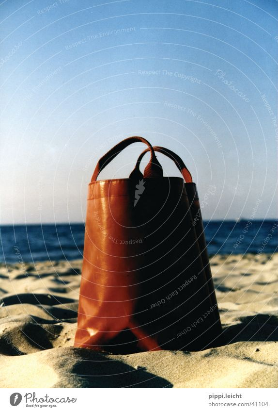 the red bag Bag Beach Red Ocean Photographic technology Sun