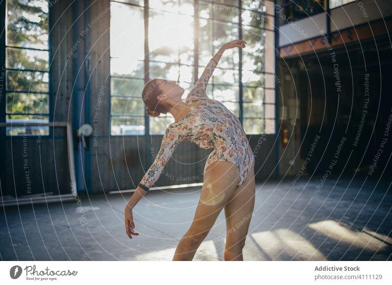 Ballet dancer practicing ballet movements in studio ballerina grace balance tiptoe training practice exercise woman gymnastic flexible perform active skill