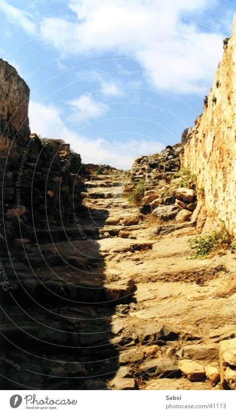 Sky Stone Europe Stairs Ruin Greece Crete