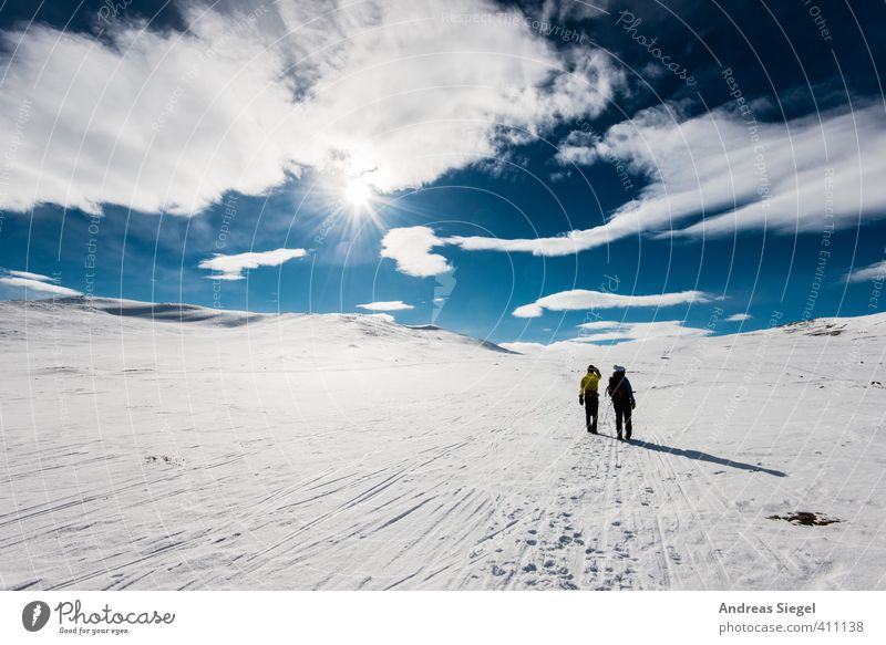 Human being Vacation & Travel Blue White Landscape Clouds Winter Far-off places Mountain Environment Snow Freedom Ice Power Tourism