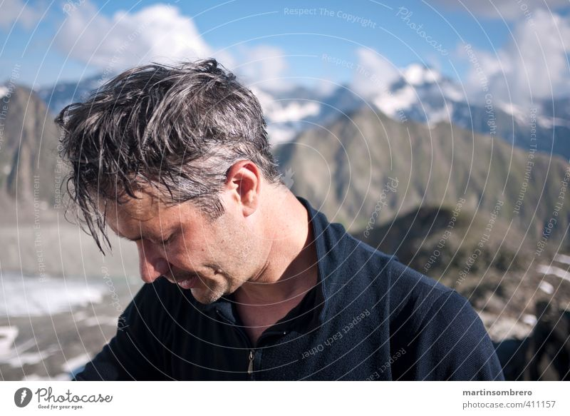 Human being Man Blue Relaxation Joy Adults Face Mountain Gray Head Masculine Contentment Hiking Fitness Adventure Climbing