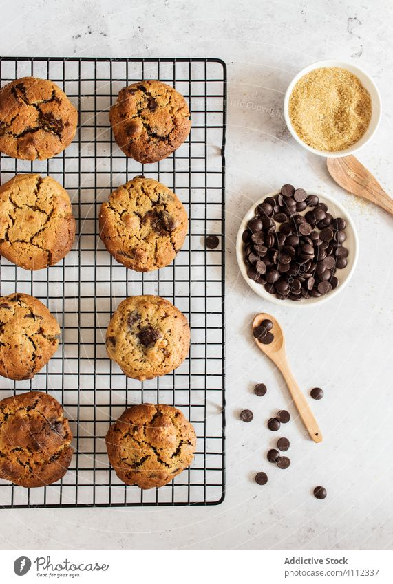 Homemade cookies with chocolate chips ingredient homemade food flour biscuit baked tasty delicious fresh cuisine meal bowl prepare grain dessert sweet pastry