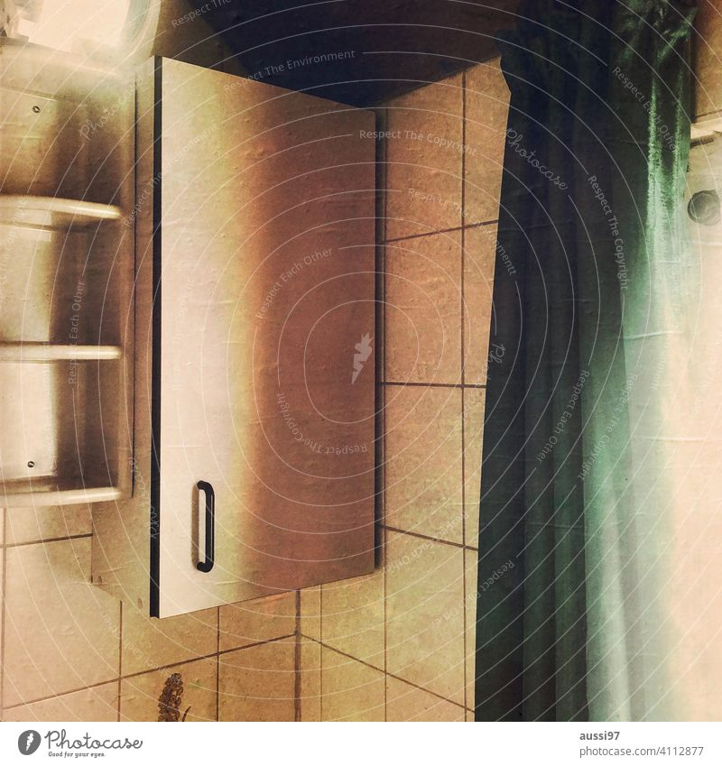 Scenes of living 10 dwell Life Living or residing Deserted House (Residential Structure) Loneliness furnishing Colour photo Interior shot 70s Tile bathroom