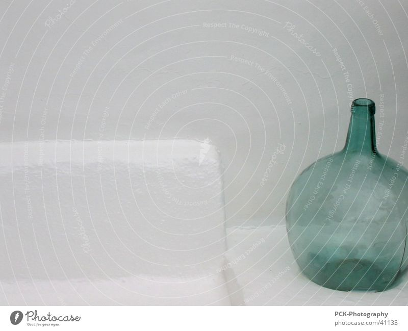 bottle green Stone bench Green White Wall (barrier) Things Still Life Vacation & Travel Bottle
