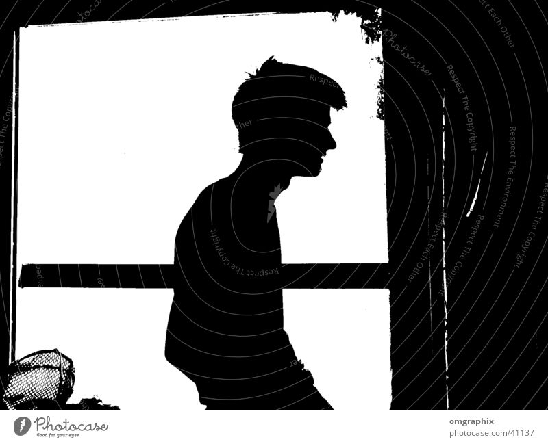 silhouette Silhouette Comic Humor Man Profile Black & white photo Human being Structures and shapes Contrast Isolated Image Bright background Shadowy existence