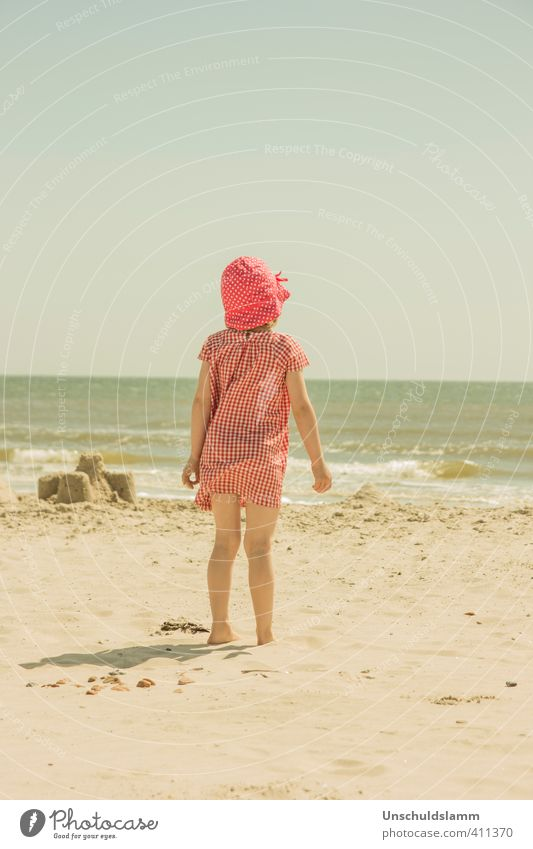 Child Vacation & Travel Blue Summer Sun Ocean Red Relaxation Girl Beach Happy Bright Moody Waves Infancy Idyll