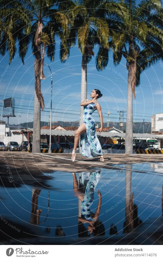 Young ballerina dancing near palms woman dance ballet grace concept puddle street young tiptoe female slim elegant tropical water reflection exotic perform