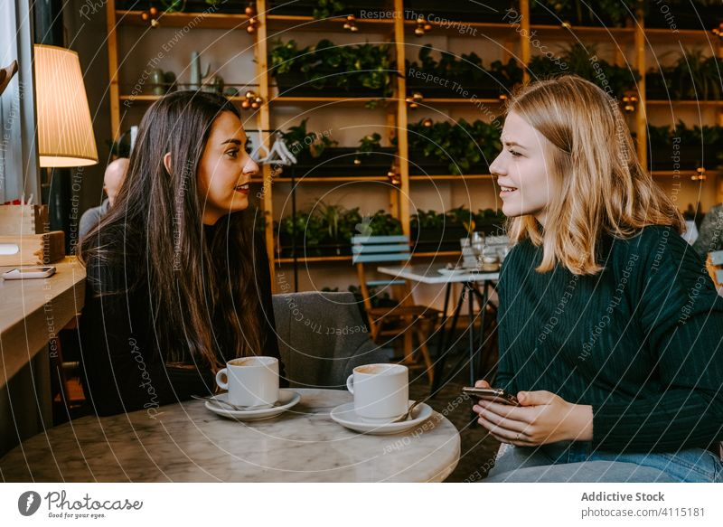 Female friends resting in cozy cafe women laugh together coffee smartphone using joke casual weekend young meeting restaurant drink cup beverage coffee shop