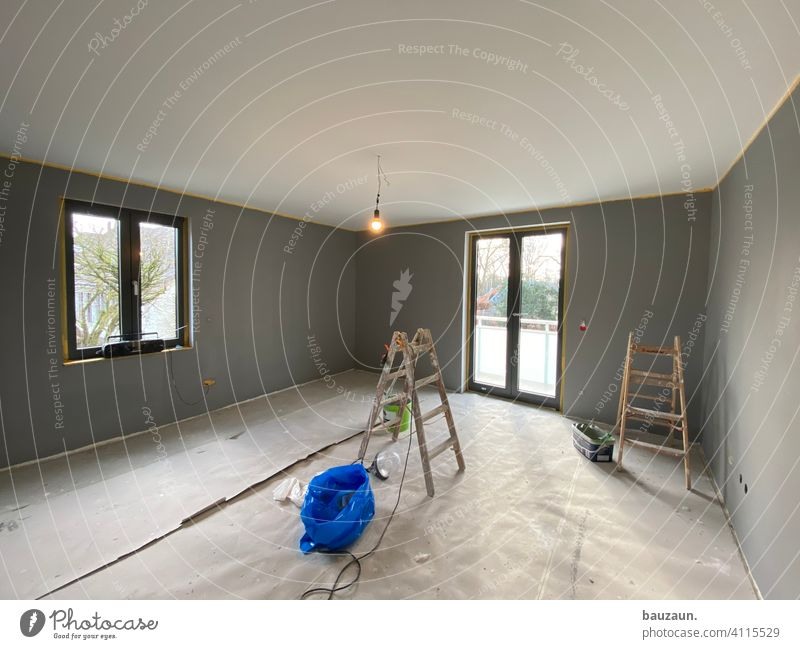 grey to sunny. Wall (building) wall paint Colour Redecorate Interior shot Interior design Design Painting (action, work) Painter Craft (trade)