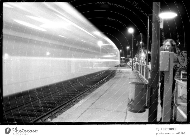 Train Platform Railroad Speed Long exposure Black & white photo too missed