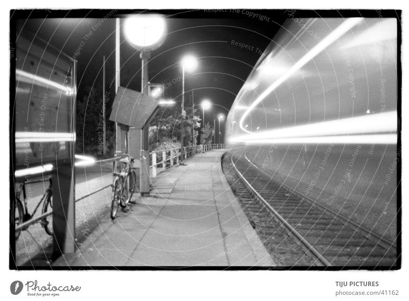 Train Fast Long exposure Railroad Platform Speed Black & white photo