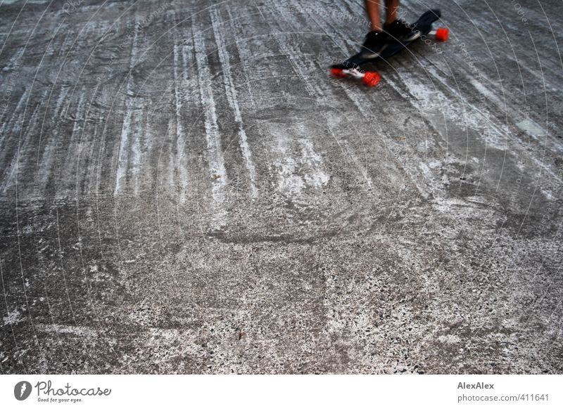 In motion Sports Sportsperson Skateboard Skateboarding Concrete floor Feet 1 Human being 18 - 30 years Youth (Young adults) Adults Footwear Wood Driving