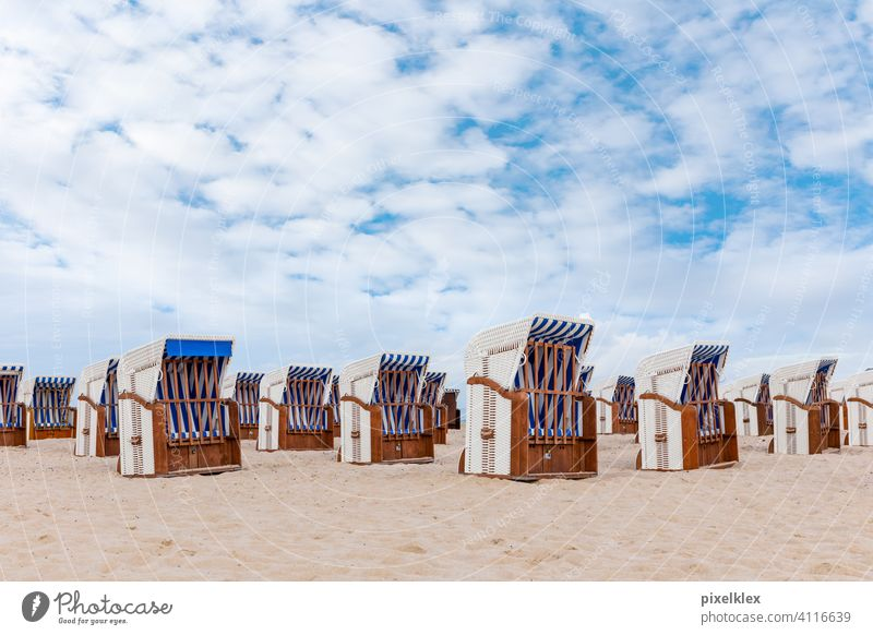 Deserted beach in Warnemünde Warnemuende Rostock Germany Baltic Sea Beach forsake sb./sth. Empty Lonely Beach chair Closed locked corona COVID covid 19 Risk