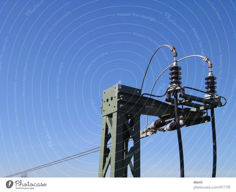 Sky Blue Railroad Industry Electricity Electricity pylon Iron Insulator