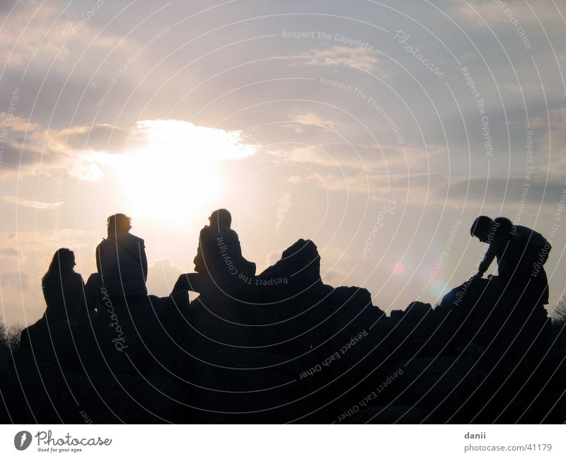 Human being Sun Clouds Group Friendship Together Sit Bad weather