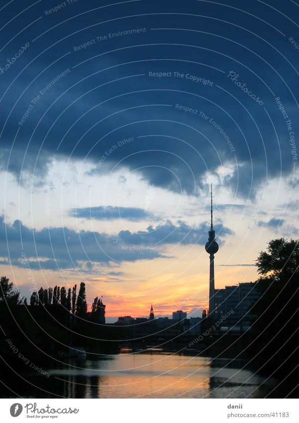 Water Sky Blue Red Clouds Berlin Landscape Architecture River Berlin TV Tower Spree
