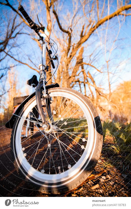 bicycle tour Bicycle Tire Bicycle tyre Handlebars Steering wheel Nature Evening sun out activity outdoor Wide angle Fisheye Spokes Oldschool Retro folding bike