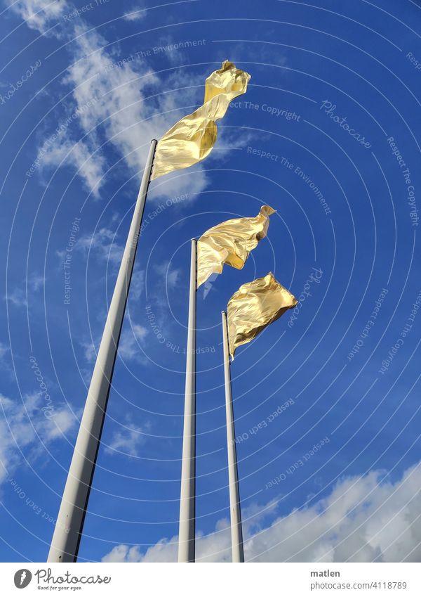 Golden Banner Flag flag Pole golden Blow Sky Clouds Wind Flagpole Exterior shot Judder Deserted