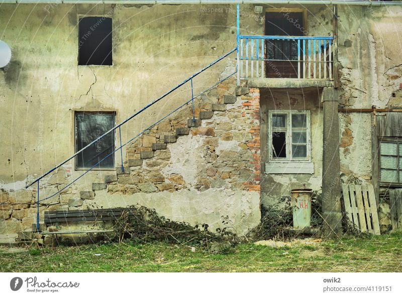 Redevelopment case Facade Wall (building) Wall (barrier) Building House (Residential Structure) door Stairs Banister Stone Trashy Caution Reckless Colour photo