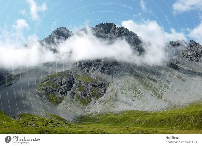High Top Clouds Peak Mountain Alps Blue sky Landscape