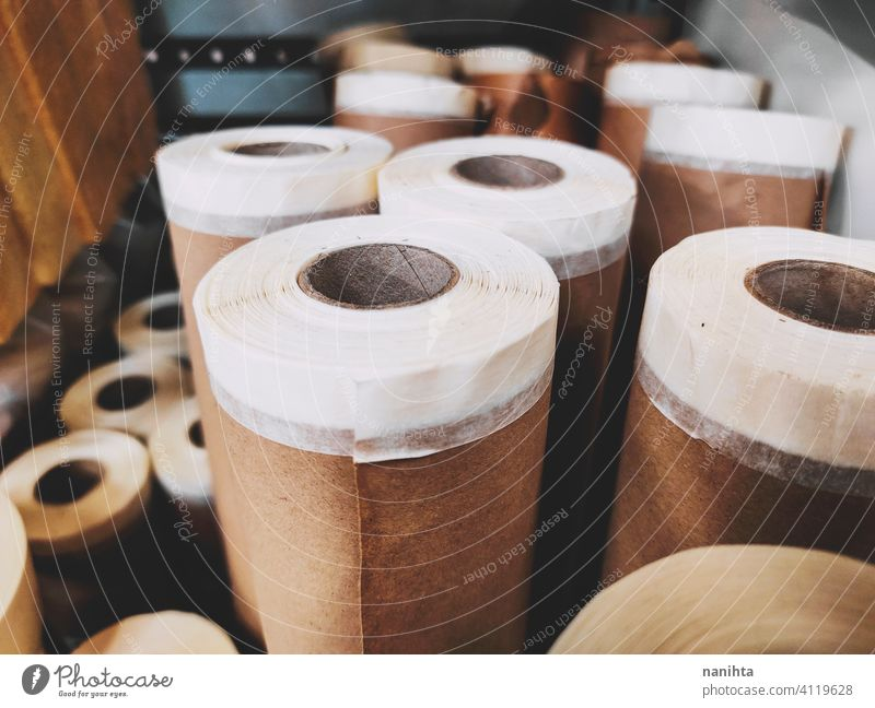 Group of brown paper roll for diy package packaging reform tape masking tape resource supplies recycle recycled paper scroll hardware background board