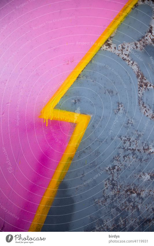 Graffiti, lightning ,yellow dividing line between two different color fields. Abstract wallpaper Colour Color fields Pink blue-grey lightning bolt Line