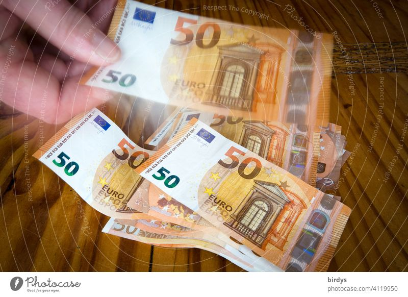 Count money, 50 euro notes , banknotes Money Banknotes 50 euros 50-euro notes Hand Loose change Bank note Many Numbers cash box Success finance Save Euro Paying