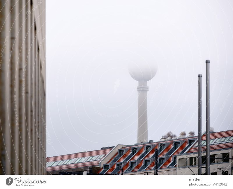 half of Berlin Sky Weather Fog Capital city Downtown Deserted House (Residential Structure) High-rise Tower Building Wall (barrier) Wall (building) Facade