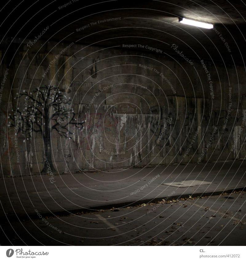 Nature City Tree Loneliness Dark Environment Graffiti Wall (building) Street Lanes & trails Wall (barrier) Gray Fear Dirty Gloomy Bridge